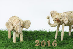Счастливый Новый Год 2016 на концепции зеленой травы Стоковая Фотография RF