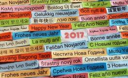 Счастливый Новый Год на различных языках стоковое изображение rf
