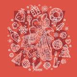 счастливый новый год открытки Хан нарисованный рукой и различные элементы Стоковое Фото