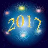 Счастливый Новый Год предпосылка две тысячи и 17 векторов Стоковое Изображение