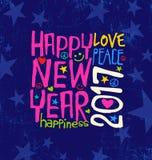 Счастливый Новый Год 2017 с воодушевлять рукописное оформление иллюстрация штока
