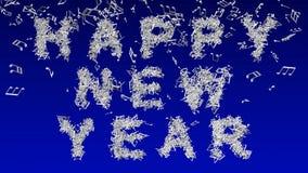 Счастливый Новый Год сделанный от музыкальных примечаний Стоковое Изображение RF