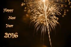 Счастливый Новый Год 2016 с золотым фейерверком Стоковое Фото