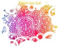 Счастливый Новый Год 2015 с красочными кругами Стоковое фото RF