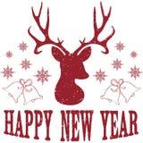 Счастливый Новый Год с оленями рождества Стоковые Изображения