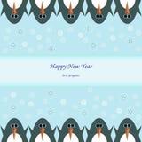 Счастливый Новый Год с пингвинами зимы Стоковые Изображения RF