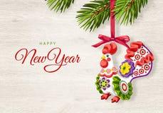 Счастливый Новый Год, с Рождеством Христовым поздравительная открытка Петух 2017 Стоковая Фотография RF