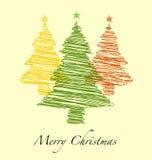 Счастливый Новый Год, с Рождеством Христовым с рождественской елкой нарисованной рукой Стоковые Фотографии RF