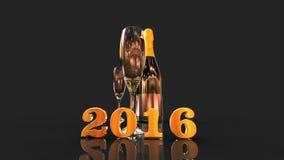 Счастливый Новый Год 2016 с шампанским иллюстрация штока