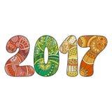 Счастливый номер 2017 торжества Нового Года Иллюстрация Xmas вектора в zentangle Стоковая Фотография