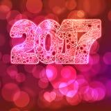 Счастливый номер 2017 торжества Нового Года Иллюстрация Xmas вектора в zentangle Стоковое Изображение