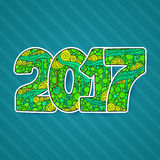 Счастливый номер 2017 торжества Нового Года Иллюстрация Xmas вектора в zentangle Стоковая Фотография RF