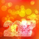 Счастливый номер 2017 торжества Нового Года Иллюстрация Xmas вектора в zentangle Стоковые Фотографии RF