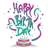 Счастливый логотип-символ оформления дня рождения с дизайном торта Стоковое Изображение