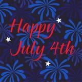 Счастливый 4-ое июля на предпосылке фейерверков Стоковое Изображение RF