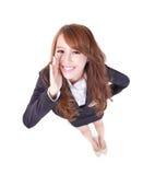 Счастливый окрик бизнес-леди Стоковая Фотография
