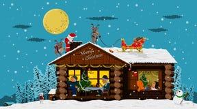 Счастливый дом на ноче рождества Стоковые Фотографии RF
