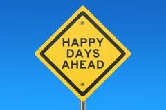 Счастливый дорожный знак дней вперед Стоковое фото RF