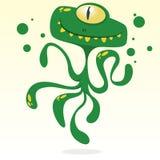Счастливый осьминог шаржа Vector изверг хеллоуина зеленый с одним глазом и щупальцами Стоковая Фотография