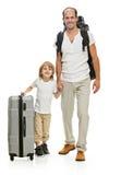 Счастливый отец и сын семьи готовые для перемещения стоковые изображения