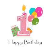 Счастливый первый вектор поздравительой открытки ко дню рождения с баллонами и Стоковая Фотография