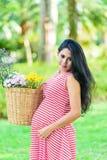 Счастливый пикник беременной женщины в парке Стоковые Изображения RF