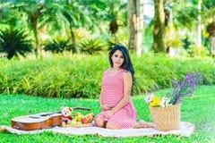 Счастливый пикник беременной женщины Стоковое Изображение