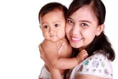 Счастливый портрет младенца и мамы стоковое изображение rf