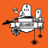 Счастливый плакат вектора хеллоуина бесплатная иллюстрация