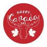 Счастливый плакат дня Канады Vector поздравительная открытка иллюстрации с нарисованными рукой литерностью и лосями каллиграфии стоковая фотография rf