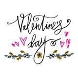 Счастливый плакат оформления дня валентинок с рукописной ветвью текста каллиграфии цветков, на белой предпосылке Вектор i Стоковые Фотографии RF