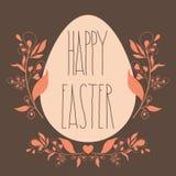 Счастливый плакат пасхи праздничный с флористическим декоративным орнаментом, quo Стоковое Изображение