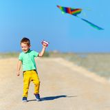 Счастливый ребенк играя с змеем на поле лета Стоковая Фотография