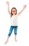 Счастливый ребенк настроения в вскользь одеждах Стоковое фото RF