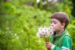 Счастливый ребенк наслаждаясь солнечным днем поздним летом и осени в природе на зеленой траве Стоковое Изображение
