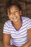 Счастливый ребенок девушки смешанной гонки Афро-американский Стоковая Фотография