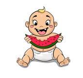 Счастливый ребенок с арбузом в руке иллюстрация вектора