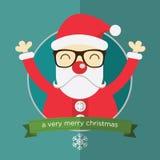 Счастливый Санта Клаус в плоском дизайне Стоковое Изображение