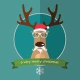 Счастливый северный олень в плоском дизайне Стоковая Фотография