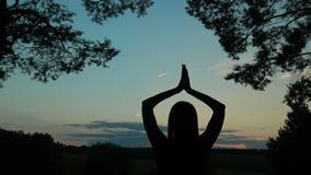 Счастливый силуэт молодой женщины против неба поднимает руки вверх в воздухе сток-видео