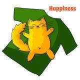 Счастливый смешной ленивый кот шаржа Стоковое фото RF