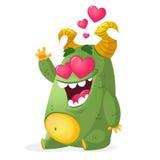 Счастливый смешной маленький изверг в влюбленности Vector иллюстрация шаржа зеленого изверга в влюбленности Стоковая Фотография RF