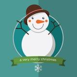 Счастливый снеговик в плоском дизайне Стоковое фото RF