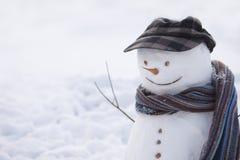 Счастливый снеговик с крышкой Стоковое фото RF