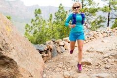 Счастливый след женщины бежать в красивых горах стоковое изображение rf