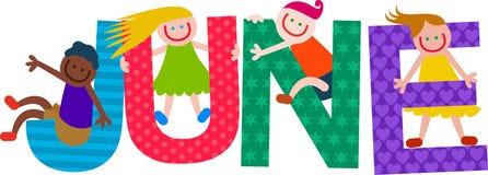 Счастливый текст в июне детей иллюстрация штока