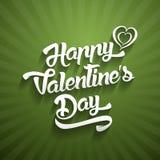 Счастливый текст дизайна литерности дня валентинок рукописный на предпосылке цвета Стоковая Фотография