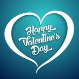 Счастливый текст дизайна литерности дня валентинок рукописный на предпосылке цвета Стоковая Фотография RF