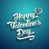 Счастливый текст дизайна литерности дня валентинок рукописный на цвете иллюстрация штока