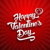 Счастливый текст дизайна литерности дня валентинок рукописный на цвете Стоковые Изображения RF